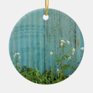 wild flowers nature blue paint fence texture ceramic ornament
