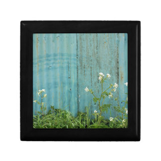 wild flowers nature blue paint fence texture gift box