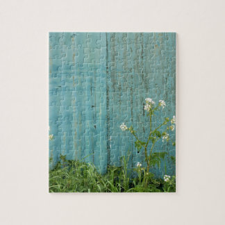 wild flowers nature blue paint fence texture jigsaw puzzle