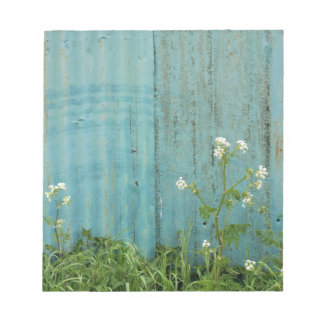 wild flowers nature blue paint fence texture notepad