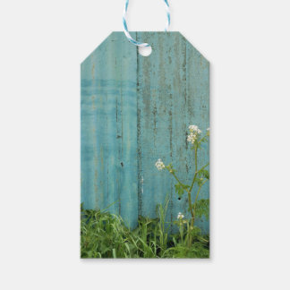 wild flowers nature blue paint fence texture pack of gift tags
