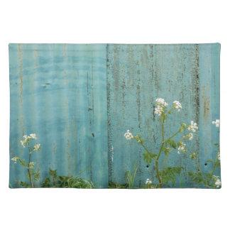 wild flowers nature blue paint fence texture placemat