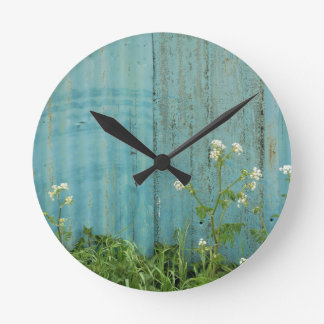 wild flowers nature blue paint fence texture round clock