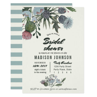Wild Flowers pale blue   Bridal Shower Invitations