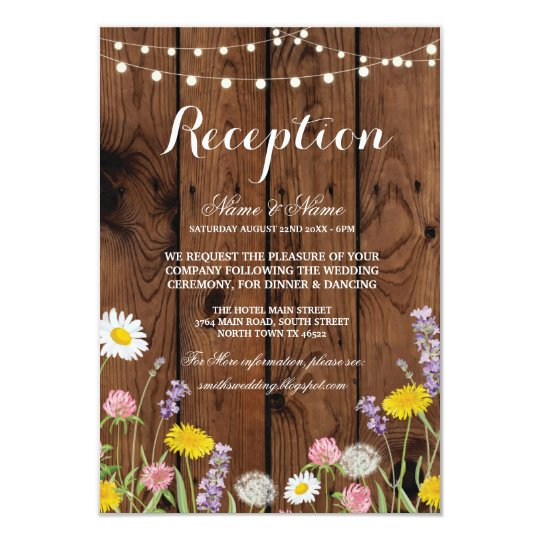 Wild Flowers Rustic Wedding Reception Cards Wood