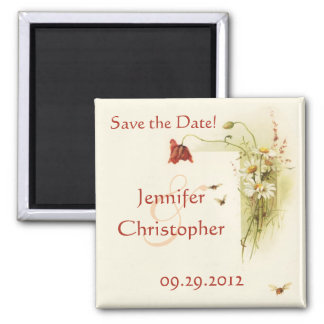 Wild flowers save the date magnet