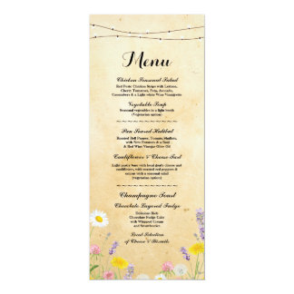 Wild Flowers Vintage Menu Wedding Reception Card