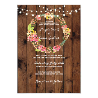 Wild Flowers Wreath Wedding Lights Wood Invite