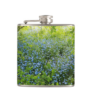 Wild forget me nots flowers photo hip flask
