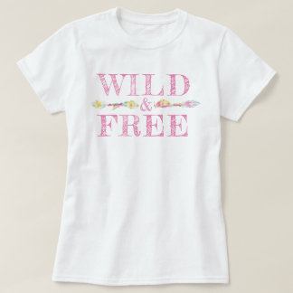 Wild & free feathers and beads boho slogan tee