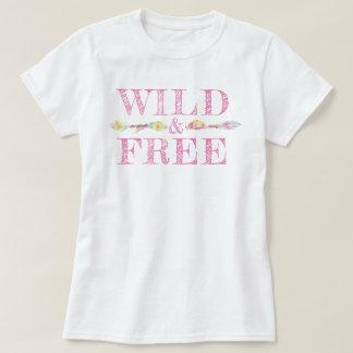 Wild & free feathers and beads boho slogan tee