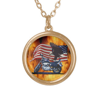 Wild & Free - Patriotic Eagle, Motorbike & US Flag Gold Plated Necklace