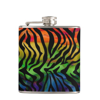 Wild Funky Rainbow Zebra Hip Flask