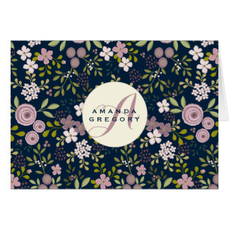 Wild Garden Floral Personalized Notecard Note Card