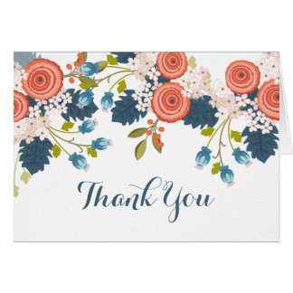 Wild Garden Floral Ranunculus Thank You Note Card