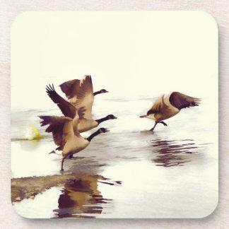 """Wild Goose Chase""   -  Running Geese Beverage Coaster"