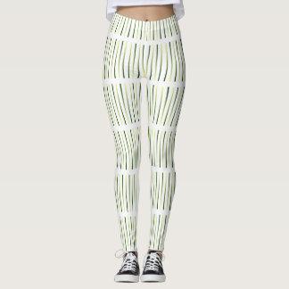Wild Grasses White Olive Designer Fashion Leggings
