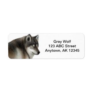 Wild Gray Wolf Customizable Return Address Label