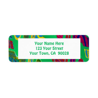 wild green abstract return address label