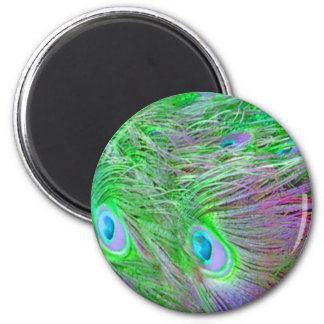 Wild Green Peacock Feathers 2 Inch Round Magnet