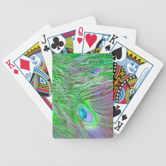 Wild Green Peacock Feathers Bicycle Playing Cards