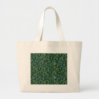wild green peacock feathers large tote bag