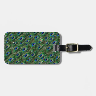 wild green peacock feathers luggage tag