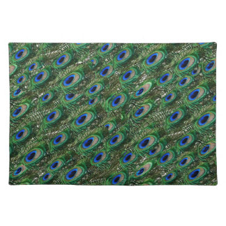wild green peacock feathers place mats