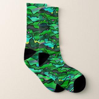 Wild Green Seascape Design Socks