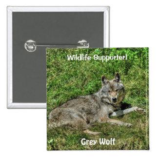 Wild Grey Wolf Animal-lover Design Buttons