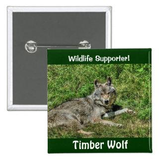 Wild Grey Wolf Animal-lover Design Pinback Button