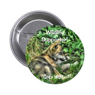 Wild Grey Wolf Cub Animal-lover Design Pinback Buttons