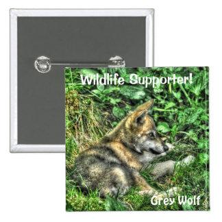 Wild Grey Wolf Cub Animal-lover Design Pinback Button