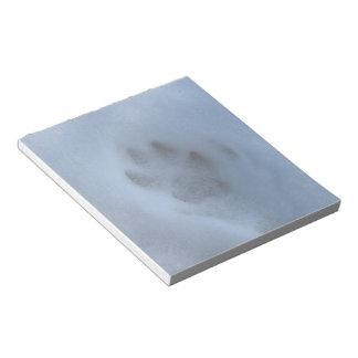 Wild Grey Wolf Paw Print in Winter Snow Notepad