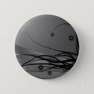 Wild Hair Lady Profile Silhouette - Black & Grey 2 Inch Round Button
