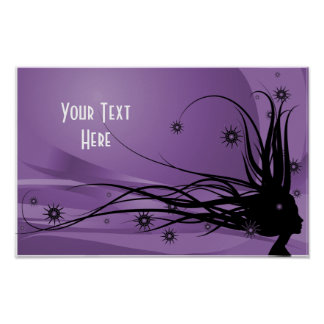 Wild Hair Lady Profile Silhouette -Black & Purple Poster