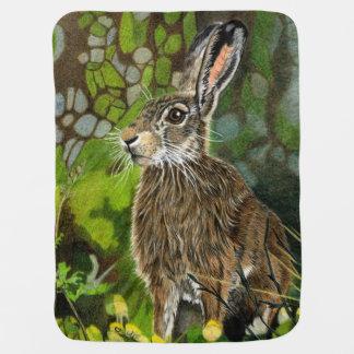 Wild Hare Hand Drawn Blanket Receiving Blanket