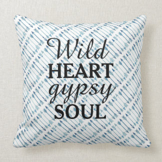 Wild Heart Gypsy Soul Blue Arrow Pillow