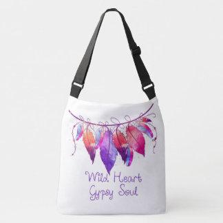 Wild Heart Gypsy Soul dreamcatcher feather bag