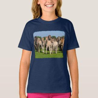 Wild Herd Dulmen Horses Cute Foals Photo -  girly T-Shirt