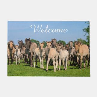 Wild Herd Dulmen Horses Foals Personalized Welcome Doormat