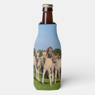 Wild Herd Dulmen Horses with Foals  Bottle-Jacket Bottle Cooler