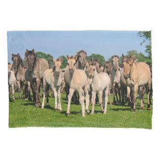 Wild Herd Dulmen Horses with Foals - Pillowcover Pillowcase