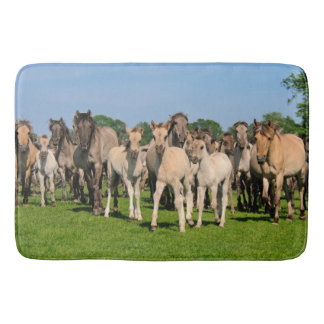 Wild Herd Grullo Color Dulmen Horses Foals - Large Bathroom Mat