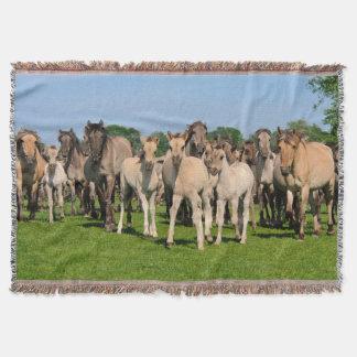 Wild Herd Grullo Colored Dulmen Horses Foals  cozy Throw Blanket