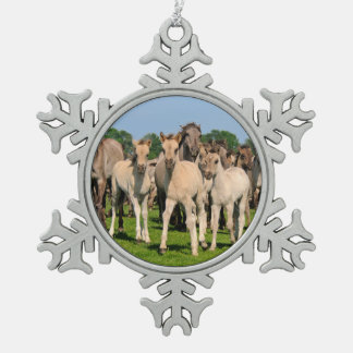 Wild Herd Grullo Colored Dulmen Horses Foals Photo Snowflake Pewter Christmas Ornament