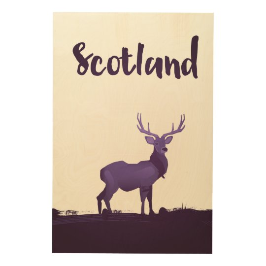 Wild Highland Scotland Stag Ink travel poster