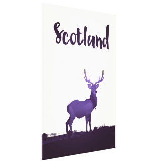 Wild Highland Scotland Stag Ink travel poster Canvas Print