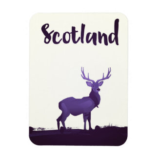 Wild Highland Scotland Stag Ink travel poster Magnet