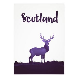Wild Highland Scotland Stag Ink travel poster Photographic Print